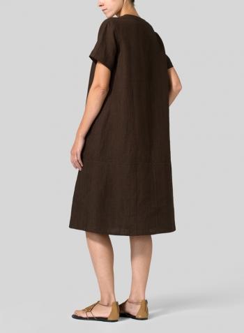 48de1dbe162 Dark Brown Heavy Linen Short-Sleeve Heart-Neck Dress