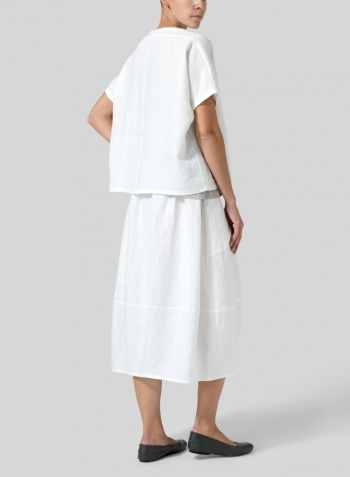 White Linen Collarless Round Neck Top Set