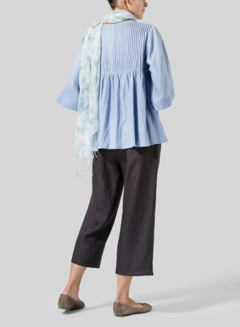 Sky Blue Linen Hand-Made Pleated Bell Sleeve Blouse