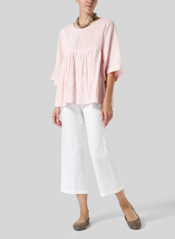 Baby Pink Linen Hand-Made Pleated Bell Sleeve Blouse with Necklace