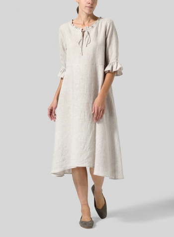 Oat Linen Ruffle Sleeves Long Dress
