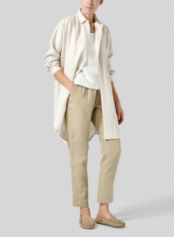 Beige Linen Dropped Shoulder Long Blouse