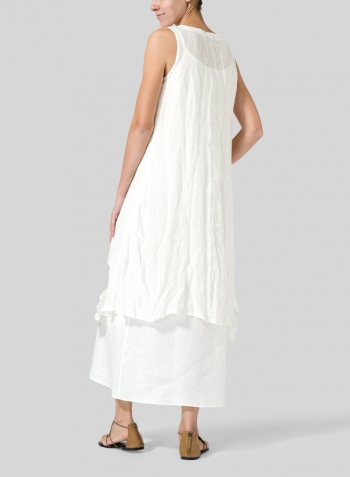 Soft White Gauze Linen Long Vest