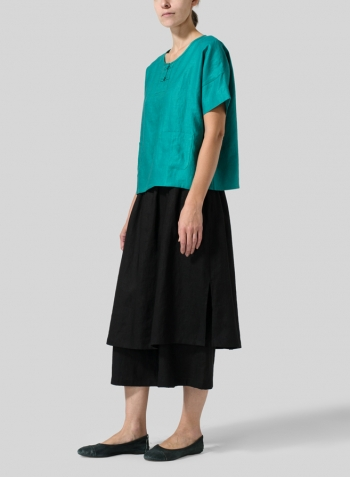 Green Linen Jacquard Chinese Box Top