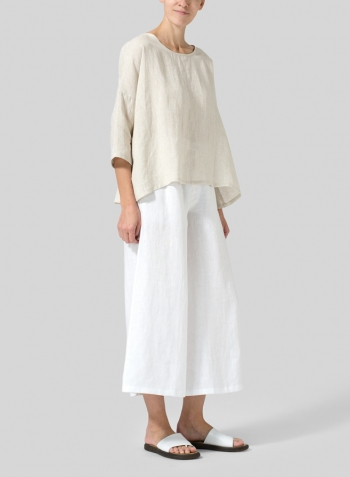 Oat Linen Dropped Shoulder Top