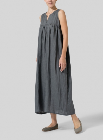 Dark Gray Linen Sleeveless Pleated Maxi Dress