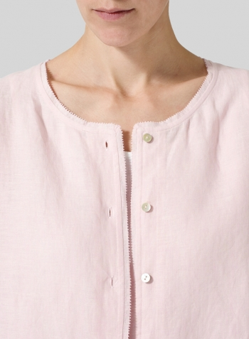 Baby Pink Lightweight Linen Embroidered Hemline Top
