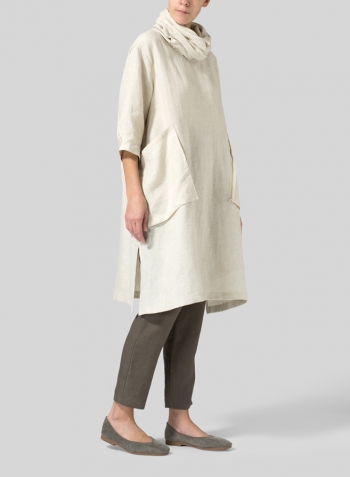 Oat Linen Cowl Neck Oversized Tunic