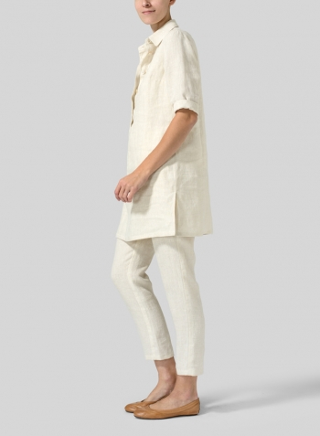 Light Oat Linen Straight Fit Shirt Collar Tunic