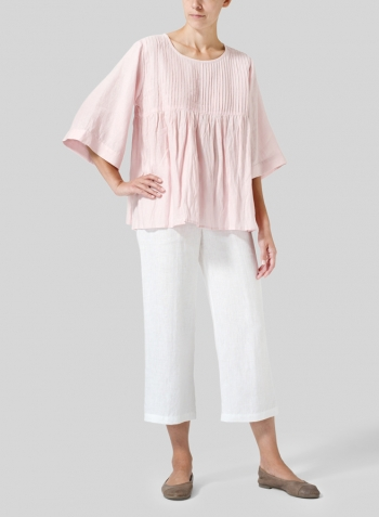Baby Pink Linen Hand-Made Pleated Bell Sleeve Blouse