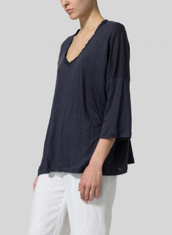 Knitted Linen Square Short Sleeve Top Set