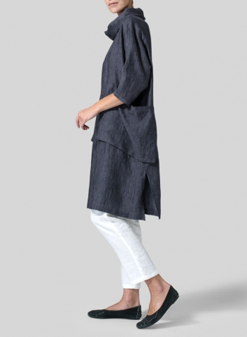 Smokey Blue Gray Linen Cowl Neck Oversized Tunic