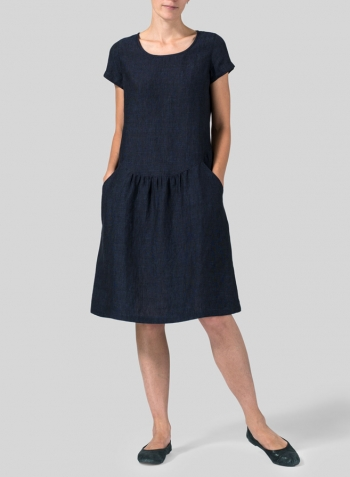 Denim Linen Short Sleeves Knee-Length Dress