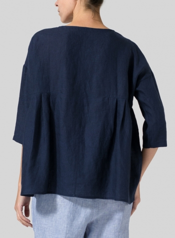 Midnight Blue Linen Dropped Shoulder Pleated Box Top