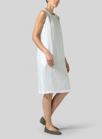 White Linen Sleeveless Mid-Length Dress