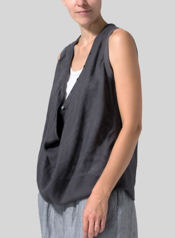Carbon Black Linen Deep Cowl Neck Top