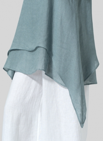 Green Gray Linen Sleeveless Layered Lightweight Top Set