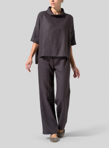 Graphite Linen Band Collar Boxy Top Set