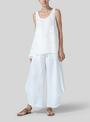Soft White Linen Double Pocketed Tank Set