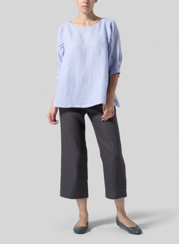 Lavender Linen Pleated Sleeve Top