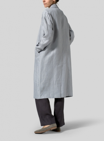 Twill Gray Linen Classic L/Sleeve Long Jacket