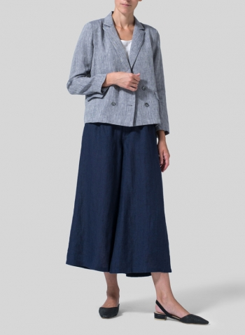 Two Tone Navy White Linen Double-Breasted Cropped Blazer Set