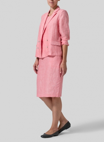 Sakura Pink Linen Double-Breasted Cropped Blazer Set