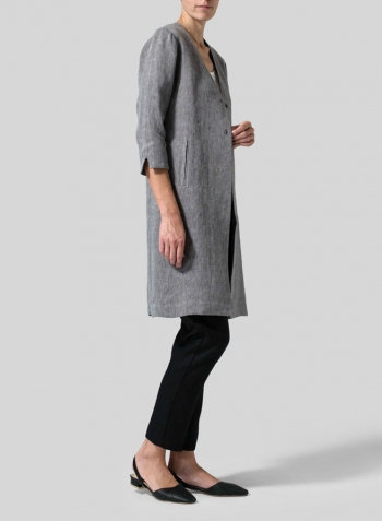 Two Tone Oat Black Linen Straight Fit V-Neck Long Jacket
