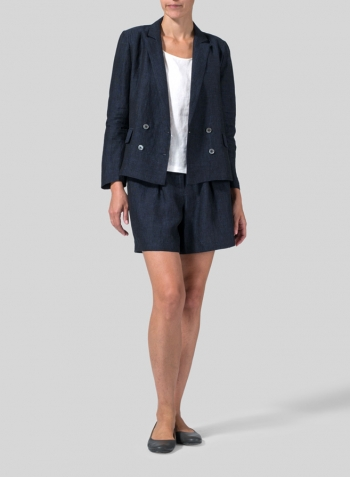 Denim Linen Double-Breasted Cropped Blazer Set
