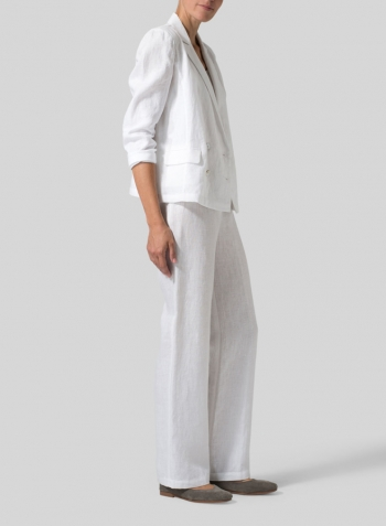White Linen Double-Breasted Cropped Blazer Set