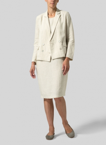Oat Linen Double-Breasted Cropped Blazer