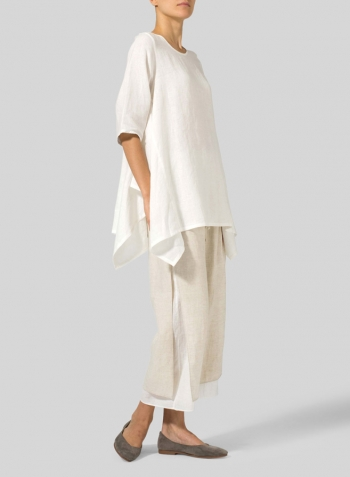 Off White Linen Half Sleeves Handkerchief Hem Tunic