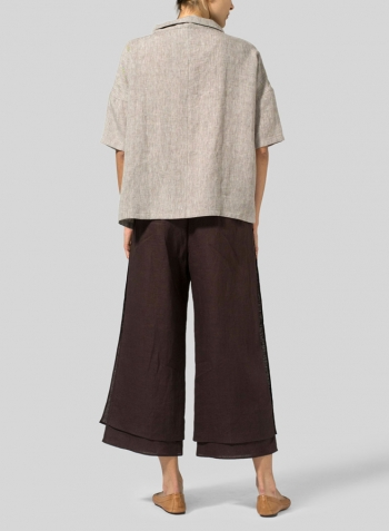 Two Tone Oat Brown Linen Band Collar Boxy Top