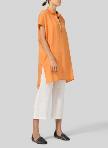 Orange Linen Short Sleeve Deep V-Neck Tunic