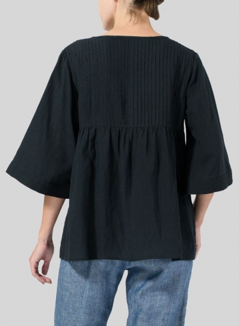 Black Linen Hand-Made Pleated Bell Sleeve Blouse
