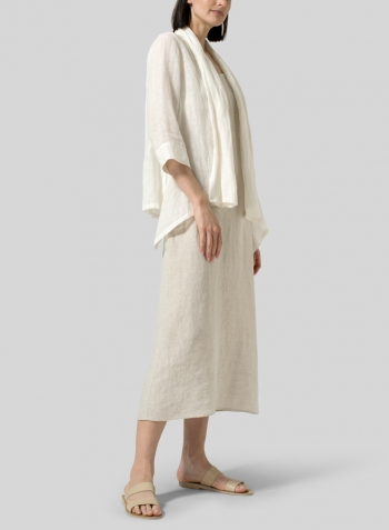 Gauze Linen Shawl Collar Jacket with Long Dress