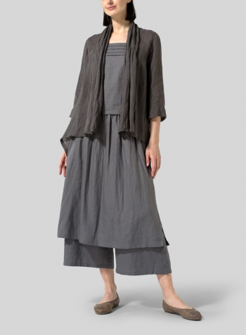 Gray Linen Two-layer Long Culottes Set