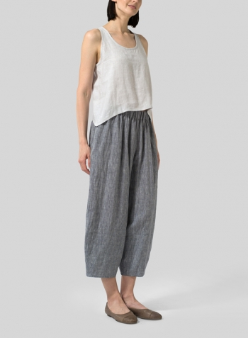 Warm Gray Linen Cropped Tank Top