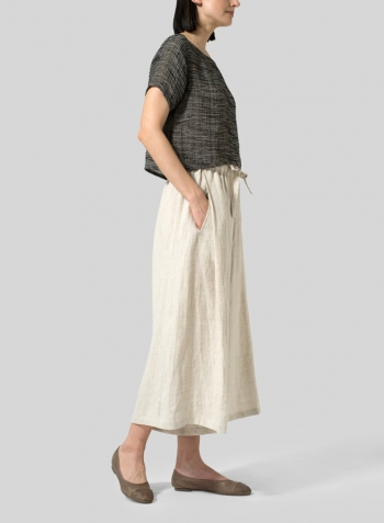 Charcoal Blend Stripe Gauze Linen Cap Sleeves Top