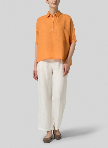 Orange Linen Classic Collar Short Sleeves Shirt