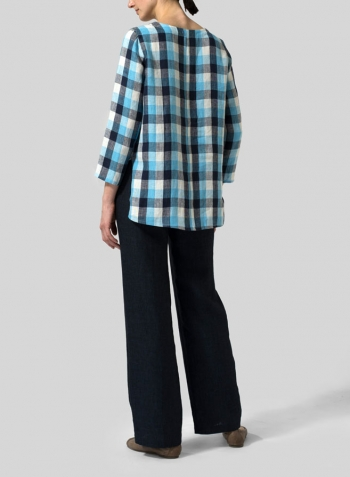 Azure Blue Checker Linen Plaid V-neck Top