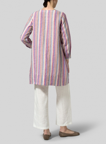 Multicolor Stripe Linen Long Sleeve Slip-On Shift Dress