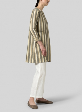 Khaki Beige Stripe Linen Long Sleeve Slip-On Shift Dress