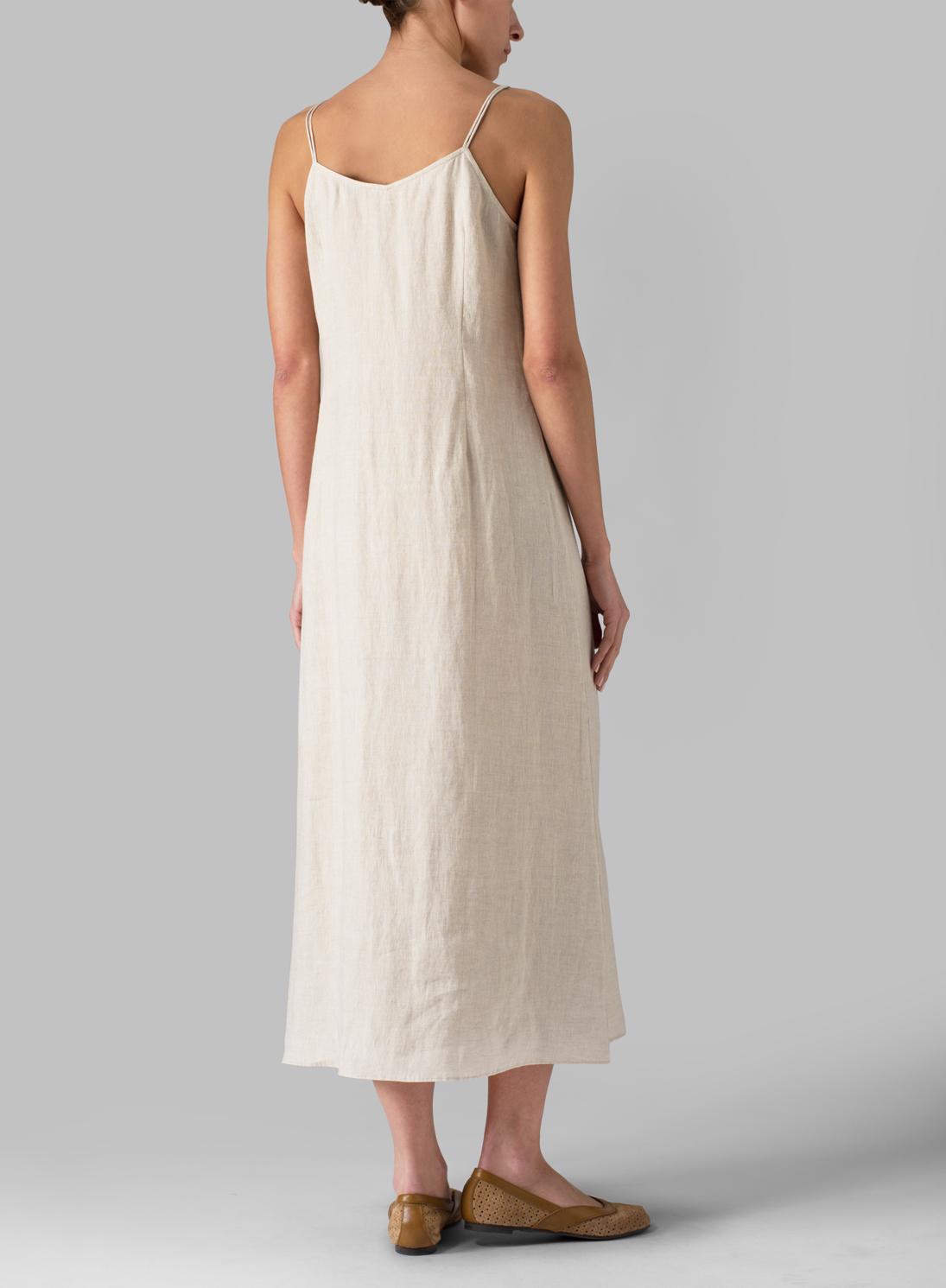 c7f110cd384 Linen Spaghetti Strap Long Dress