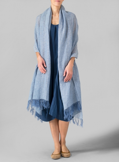 Linen Hand-crafted Two Tone Blue Long Scarf