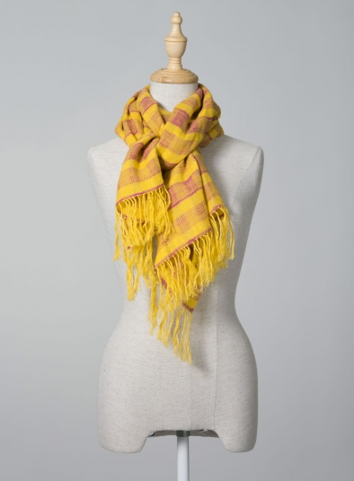 Linen Dark Yellow Check Scarf