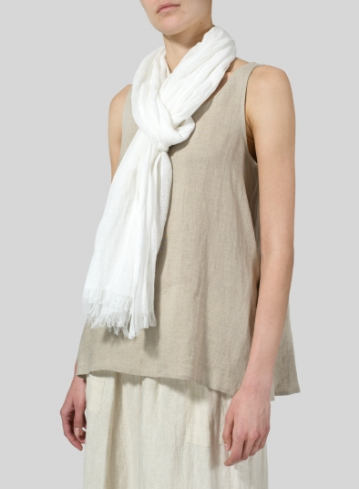 Linen Soft White Scarf