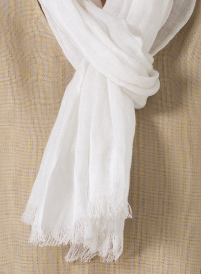 Soft White Linen Scarf