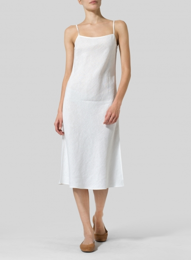 Linen Sleeveless Bias Cut Dress