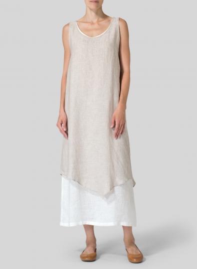 Oatoff White Linen Double Layered Long Dress Plus Size